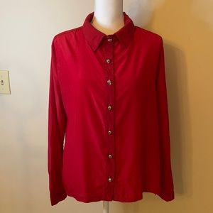 Soft Red Blouse Skull Metal buttons